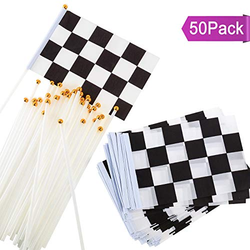 U_star 50 Pieces Checkered Flags 8 x 5.5 Inch Racing Flag Hand Held Stick Flags, Checkered Flag Race Car Flags,Checkered Racing Flag,Checkered Flag Party Supplies,Black & -