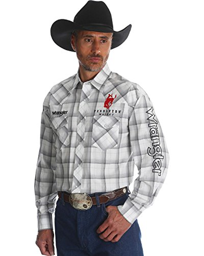 Wrangler Men's Pendleton Plaid Western Logo Shirt White Large (Tee Logo Plaid)