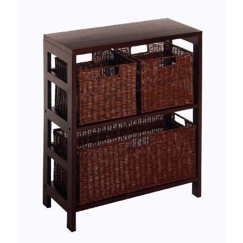 Luxury Home Leo 4-piece Wood Shelf with Three Baskets by Luxury Home