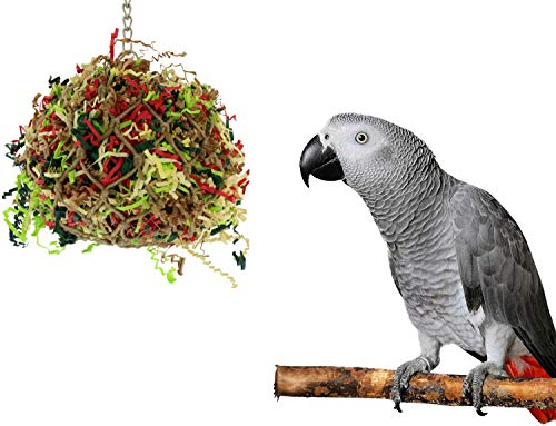 Sweet Feet and Beak Bird Toys Super Shredder Ball - Keeps Your Pet Bird Busy for Weeks Foraging for Hidden Treasures - Non-Toxic - Easy to Install - for Large Sized Birds - 7 inch Diameter