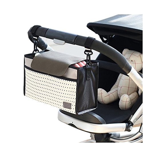 Universal Stroller Organizer with Cup Holders - Large Stroller Caddy Bag Accessories Fit for Most Buggies, Prams, Umbrella, Jogging Stroller