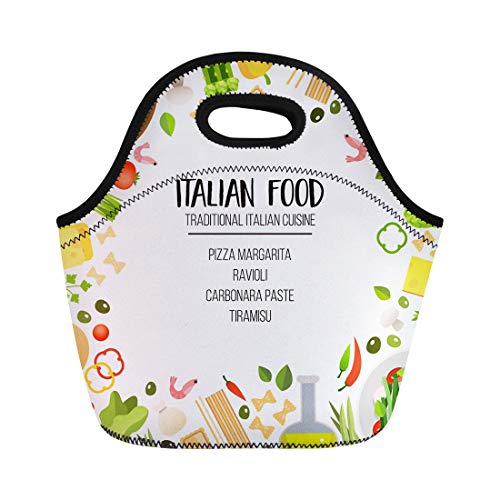 (Semtomn Lunch Bags Bright of Traditional Italian Cuisine Pasta Pizza Cheese Olives Neoprene Lunch Bag Lunchbox Tote Bag Portable Picnic Bag Cooler Bag)