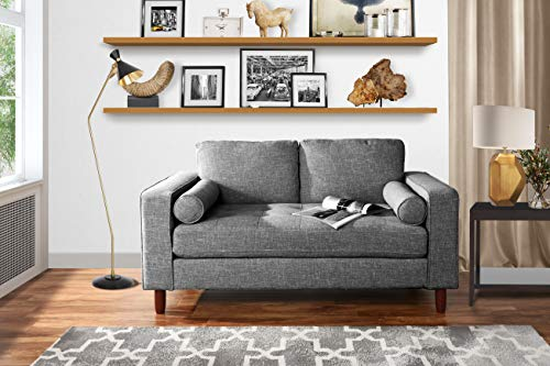 Modern Sofa Loveseat with Tufted Linen Fabric - Living Room Couch (Light Grey)