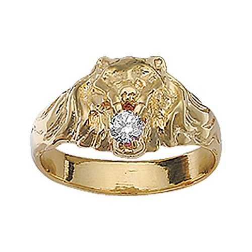 So Chic Jewels - Vermeil - Silver Gilt (18k Gold over 925 Sterling Silver) Mens Lion Design White Cubic Zirconia Signet Ring - Size 8.5