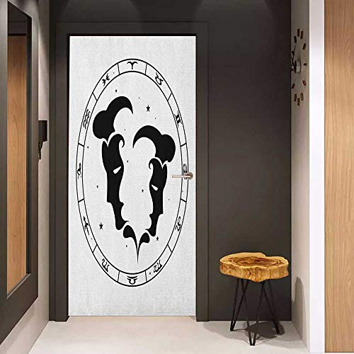 Onefzc Soliciting Sticker for Door Zodiac Gemini Zodiac Wheel with Twelve Signs Abstract Male Portraits with Stars Tattoo Mural Wallpaper W23.6 x H78.7 Black and White