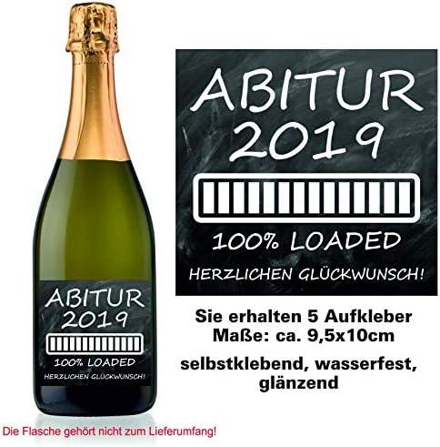 Play-Too 5 Aufkleber Etikett Flasche Sektflasche Weinflasche Bierflasche Abi Abitur Reifeprüfung Tafel Schwarz 100% Loaded