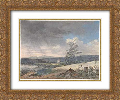 (Louis Gabriel Moreau - 24x20 Gold Ornate Frame and Double Matted Museum Art Print - Windswept Landscape)
