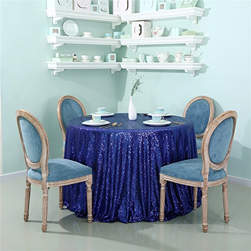 Zdada Sequin Bride and Groom's Sweetheart Table Cloth for Wedding/Christmas/New Year Eve-Royal Blue 70