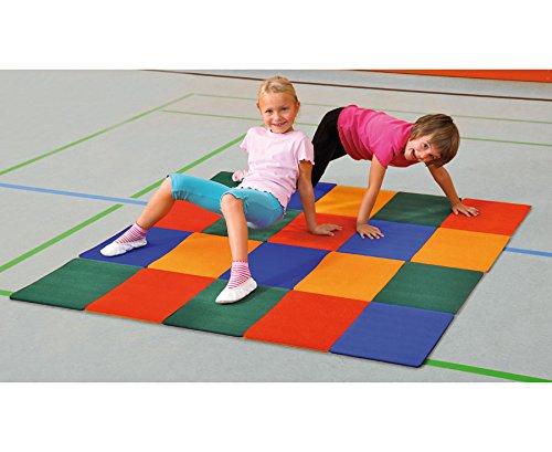 Satz mit 24 Turn-und Spiel-Fliesen - Schule Kindergarten Kinder Kinderturnen Sportunterricht Rutschfeste Matten Unterlage Springen Hüpfen Bodenschutz Schutz Verletzungsschutz