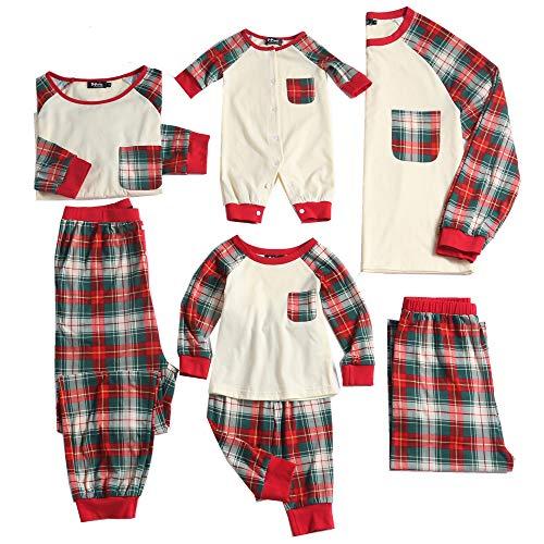PopReal Toddler Plaid Family Matching Clothes Long Sleeve and Pants Christmas Pajamas Set Yellow]()