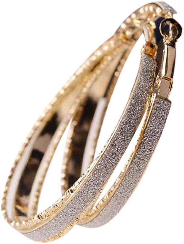 Gusspower 1 Pair Pendientes de aleación Anillo Scrub Oro Pendientes de Mujer de Moda Joyería Accesorios Regalo de San Valentín