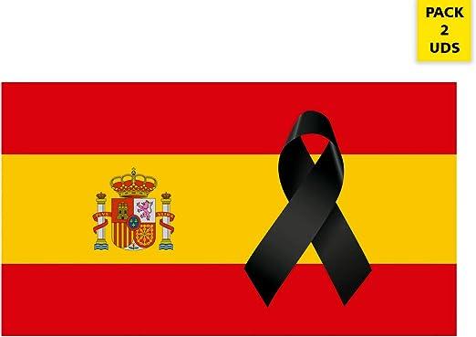 Oedim Pack 2 Banderas de España con Crespón   Medidas 85x150cm   Reforzada y con Pespuntes   Bandera de España con Crespón y 4 Ojales Metálicos   Resistente al Agua: Amazon.es: Hogar