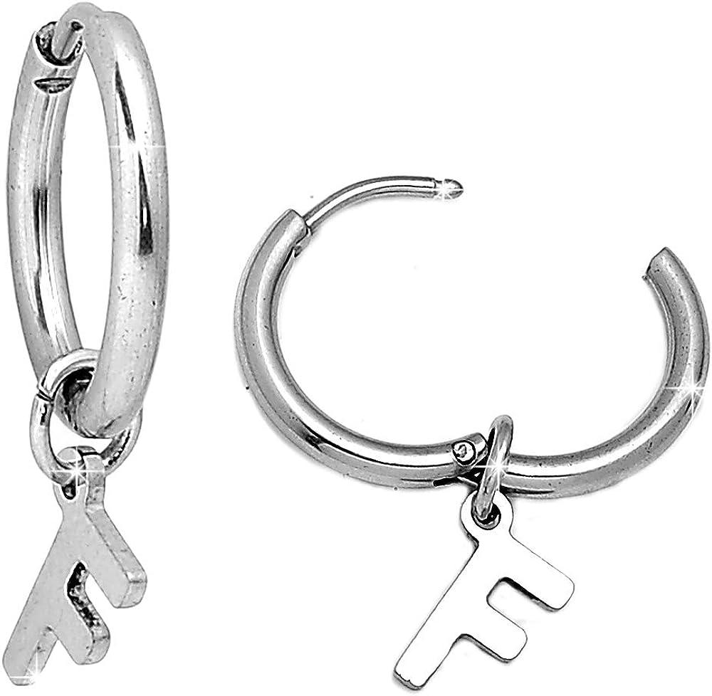 Beloved Orecchini da donna a cerchio in acciaio per lobi forati colore silver con lettera dellalfabeto iniziale pendente