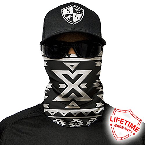 - Sa Company Face Shield Micro Fiber Protect from Wind, Dirt and Bugs. Worn as a Balaclava, Neck Gaiter & Head Band for Hunting, Fishing, Boating, Cycling, Paintball and Salt Lovers. - Aztec B&W