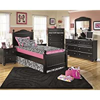 Jaidyn Youth Wood Poster Bed Room Set in Rich Black Finish, Twin Bed, Dresser, Mirror, Nightstand