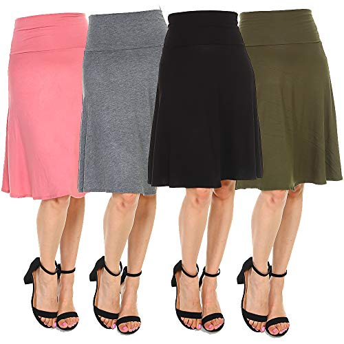 - 4 Pack of Women's Midi A-Line Skirts – Solid with Fold Over Waist Band Flare Design (Large, Black, Olive, Salmon & Charcoal)