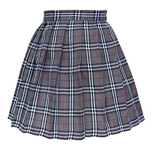 Tremour Girl High Waist Check Kilt Mini Tennis Pleated Skirts(2XL,Grey White) by Tremour