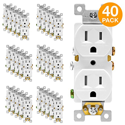 ENERLITES Duplex Receptacle Outlet, Tamper-Resistant, Residential Grade, 3-Wire, Self-Grounding, 2-Pole,15A 125V, UL Listed, 61580-TR-W-40PCS, White (40 - Outlet Commercial