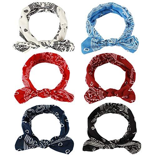 - Boho Headbands for Women,TAIHA Elastic Floral Leopard Print Paisley Bandana Knot Headbands Turban Headwraps Non Slip Off Hair Band Moisture Cute Twisted crochet Hairband (J: 6 Pack(Paisley))