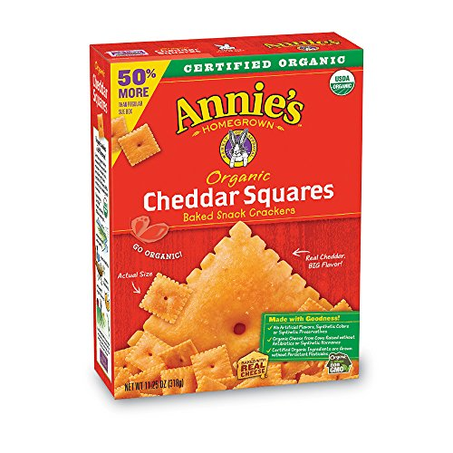 Annie's Organic Baked Snack Crackers Cheddar Squares, 11.25 oz ()