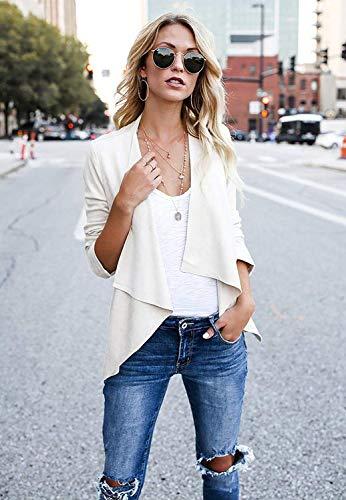 Sciolto Marca Manica Jacket Beige Eleganti Di 3 Confortevole Donna Mode A Fashion 4 Irregolare Cardigan Outerwear Maglia Bolawoo Giacche Puro Autunno Giacca Colore nBxzvZwg6