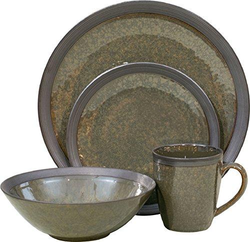 Sango 3634MX800ACM24 Omega 16-Piece Stoneware Dinnerware Set, Olive