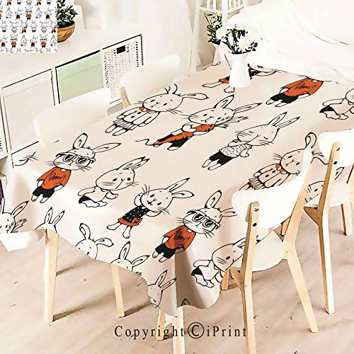 Polyester Custom Tablecloth,Bunny Rabbits with Costumes Jack Hare for Buffet Table, Parties, Holiday Dinner, Wedding & More,Orange White ()