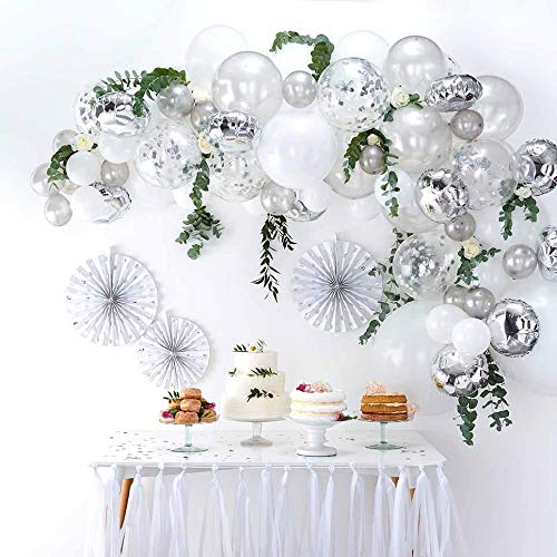 DIY Rose Gold Balloons Garland Kit 70pcs Latex Balloons Confetti Balloons Foil Balloons Combination Arch Garland Banner for Birthday Wedding Party Photo Booth Backdrop Venue Decor (Silver) -