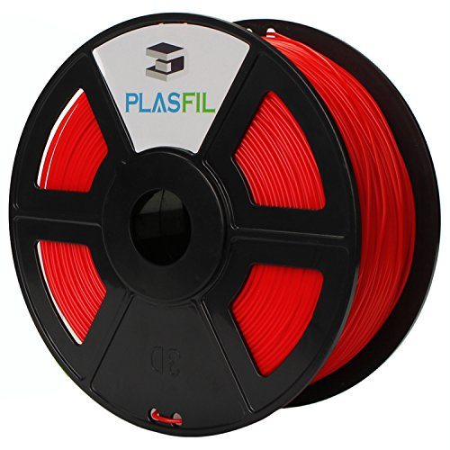 PLASFIL Red 3D Printer Filament, Vacuumed Sealed 1.75mm PLA PRO (PLA+) Printing Filament, 1KG Spool, +/- 0.03 mm Dimensional Accuracy, Low Odor
