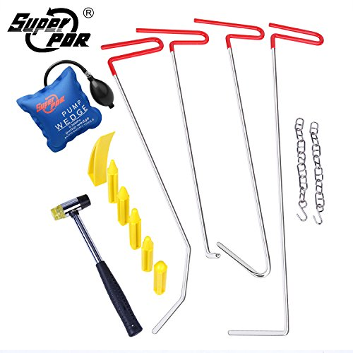 Door Rust Repair (Super PDR 11Pcs Auto Body Paintless Dent Repair Tool for Hail Damage Door Dings Removal PDR Rods Tips Kit Sets)