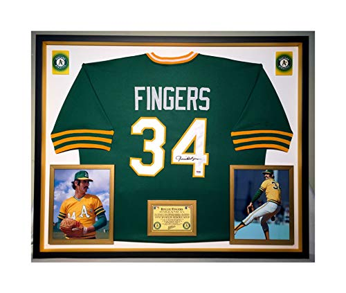 Premium Framed Rollie Fingers Autographed/Signed Oakland A's Jersey - Athletics - PSA COA