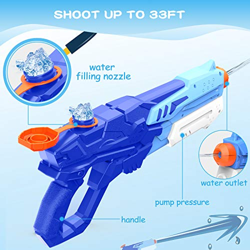 Kiztoys Water Guns for Kids Super Squirt Guns Water Soaker Blaster 600CC Toys Gifts for Boys Girls Children Summer Swimming Pool Beach Outdoor Water Fighting Toys