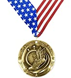 Gold Track and Field World Class Medal - 1st Place - Comes with Exclusive Decade Awards Stars & Stripes American Flag V Neck Ribbon - 3 inch wide - Made of Metal - Meet Competition (GOLD)