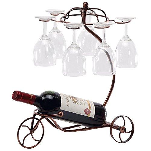 Wine Rack Grape Arbor Style Retro Design Metal Tabletop Organizer Storage for 6 - Grape Centerpiece
