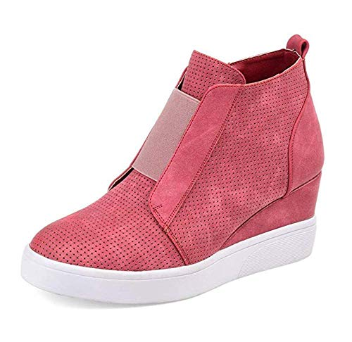Youngdemo Women Platform Sneakers, Closed Toes Wedge Shoes High Top Sports Shoes Zipper Flat Heel Booties(US-8.5M,Rose Red) (Shoe Women Sneaker Wedge In Red)