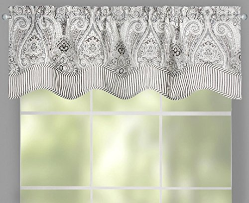 "Traditions by Waverly Paisley Pizzazz Stripe Gray Black Scalloped Window Valance, 52""W x (Waverly Stripes Valance)"