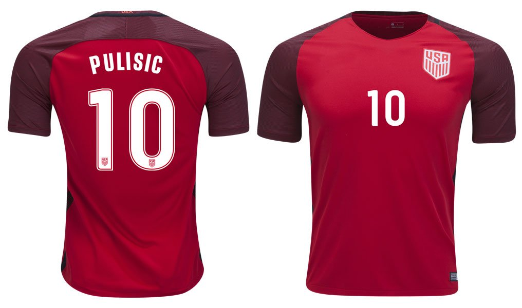 c5f0161a00f 16-17 Men USA Team 10 PULISIC Authentic Third Soccer Jerseys Red Size S  Apparel