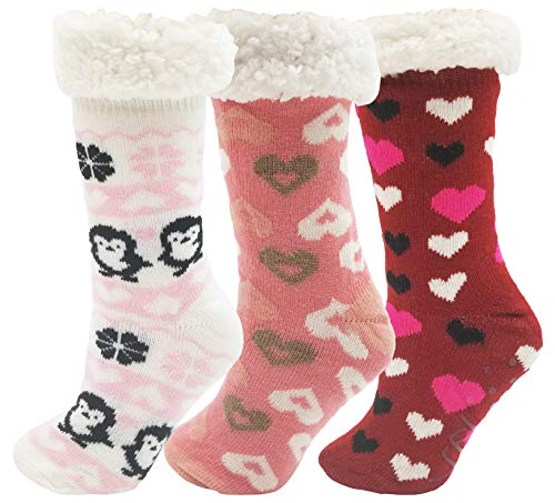 Sherpa Lined Slipper Socks, 3 Pairs for Women, Fluffy Christmas Winter Patterned with Gripper Bottoms, Warm Soft Gift (Hearts) (Plus Lined Size Stockings)