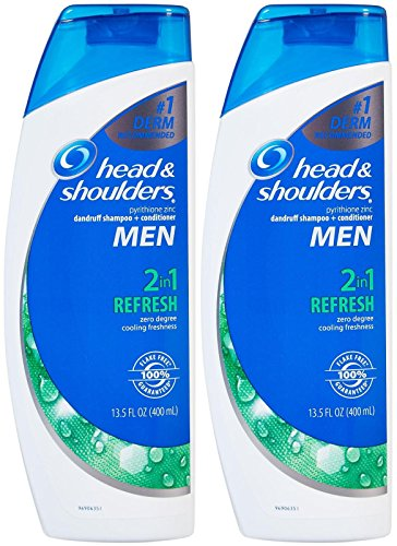 Head and Shoulders Men Refresh 2-in-1 Dandruff Shampoo and Conditioner 13.5 Fl Oz(Pack of 2)