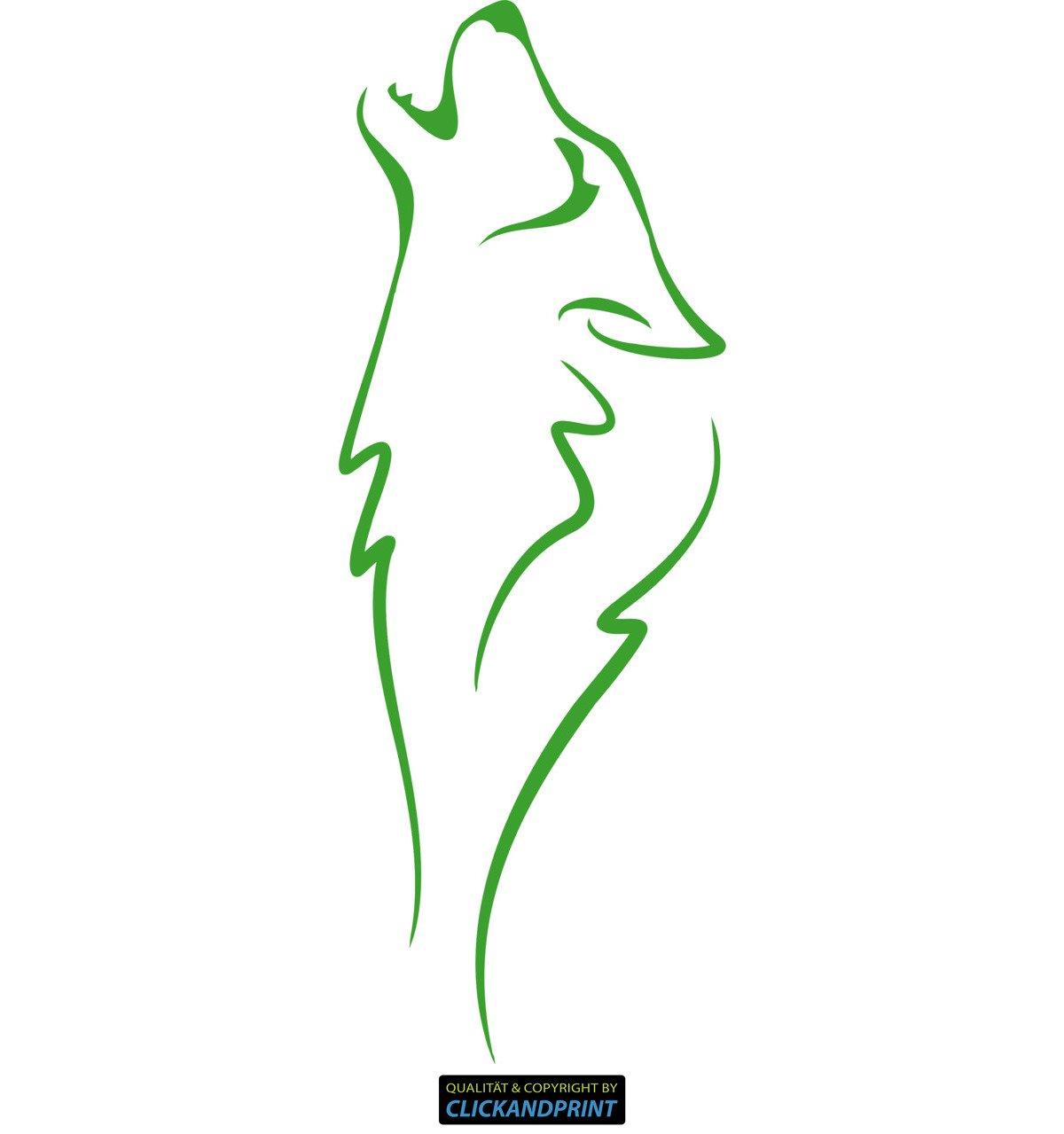 CLICKANDPRINT Aufkleber » Wolf Silhouette, 150x54,6cm, Gelbgrün • Wandtattoo   Wandaufkleber   Wandsticker   Wanddeko   Vinyl
