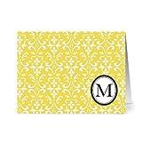 Modern Floral Damask 'M' Sunshine Monogram - 24 Cards for $14.99 - Blank Cards w/ Grey Envelopes Included