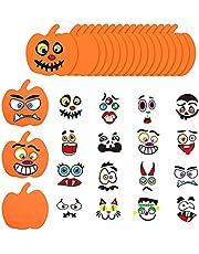 16 stuks Halloween Foam Pumpkin Craft Stickers, Halloween Leuke Emoji Sticker Combinatie voor Kids Halloween Craft Kit Party Decorations