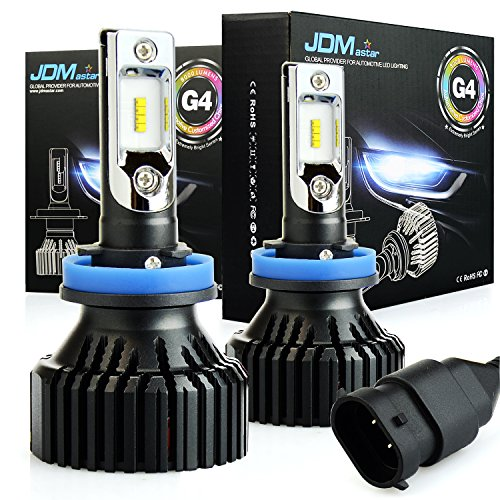 JDM ASTAR Newest Version G4 8000 Lumens Extremely Bright AEC Chips H11 H8 H9 All-in-One LED Headlight Bulbs Conversion Kit, Xenon White