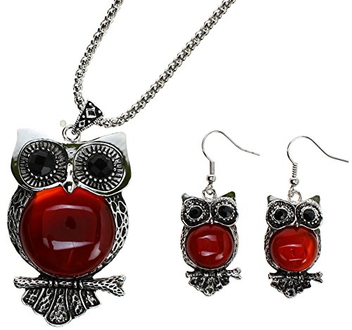 Red Carnelian Earrings (Lova Jewelry Owl Necklace and Earrings Set (Carnelian Stone))