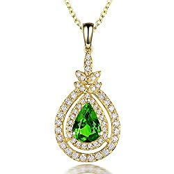 Natural Green Garnet Tsavorite Diamond Pendant