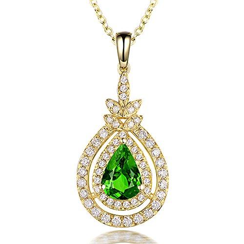 Lanmi Jewelry 14K/18K Yellow White Gold Natural Green Garnet Tsavorite Diamond Pendant Necklaces for Women