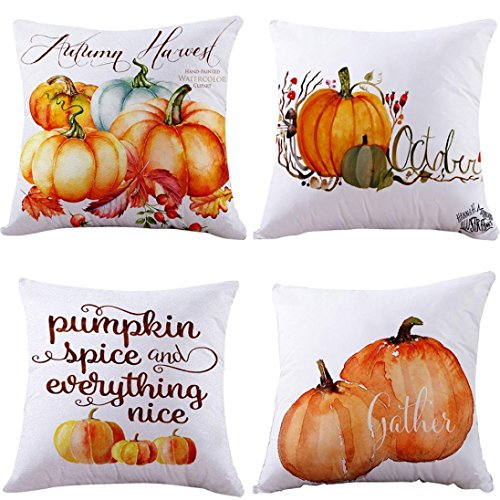 Pumpkin Throw Pillow Cover Halloween Cushion Case with Zipper 18 x 18 inch Cotton Linen Autumn Fall Home Decor (Set of 4 ~ B)