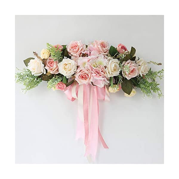 Liveinu Handmade Floral Artificial Simulation Peony Flowers Garland Wreath Wedding Table Centerpieces for Home Party Decor 21″ W x 7″ H Pink Swag Wreath