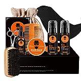 Wumal Beard Kit for Men 10 in 1 - Ultimate Beard Grooming Kit for Grow Beard Includes 100% Natural Comb, Oil, Balm, Wash, Shampoo, Brush, Scissors, Shaper, Apron Bib and Burlap Bag