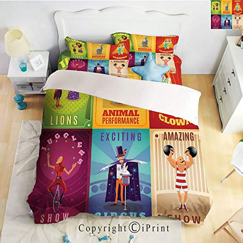 Homenon Luxury 4-Piece Bed Sheet,Hide Zipper Closure,Circus Characters with Trained Animals The Strong Man Trapeze Artist Retro Show Design,Multi,King Size